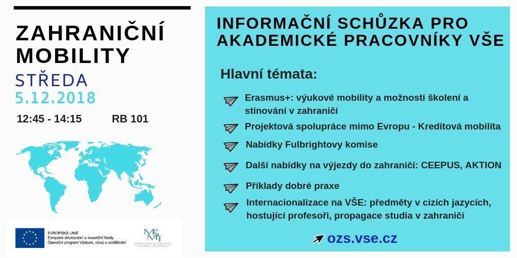 Zahraniční mobility: Informační schůzka pro akademické pracovníky VŠE